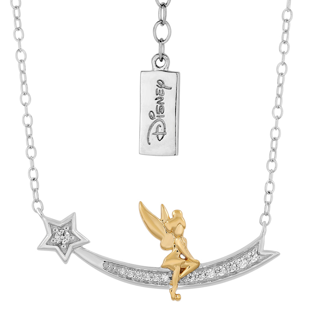 Tinker Bell Shooting Star Necklace with 1/10 cttw Diamonds