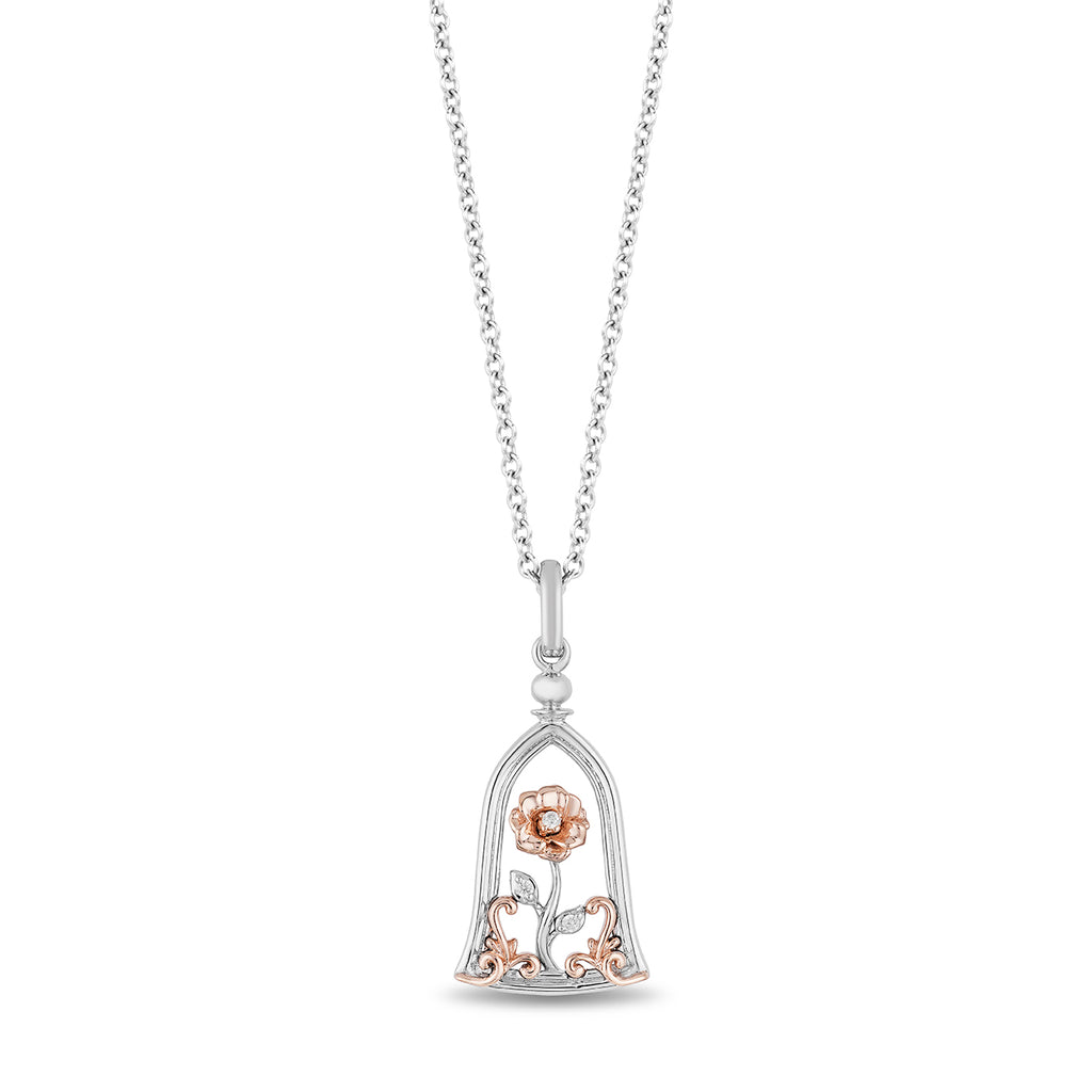 Belle Rose-in-a-Jar Pendant with Diamond Accents