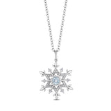 Elsa Snowflake Pendant with 1/6 cttw diamond and Aquamarine