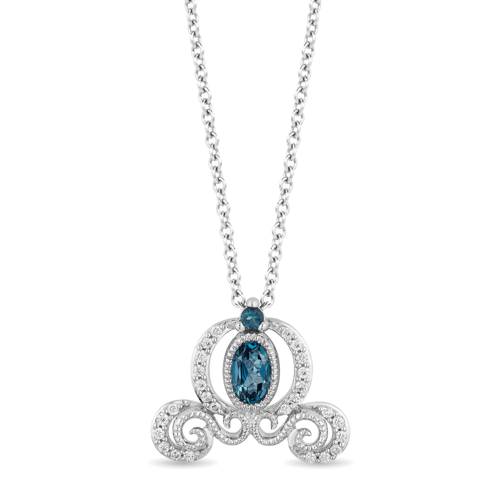 Cinderella Carriage Pendant with 1/10 cttw Diamonds and London Blue Topaz