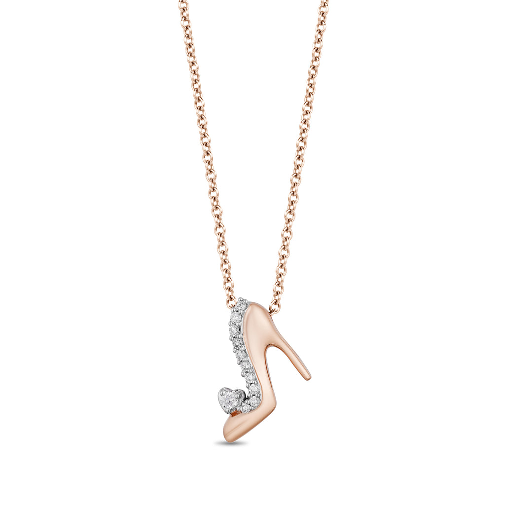 Cinderella Slipper Pendant with 1/20 cttw Diamonds