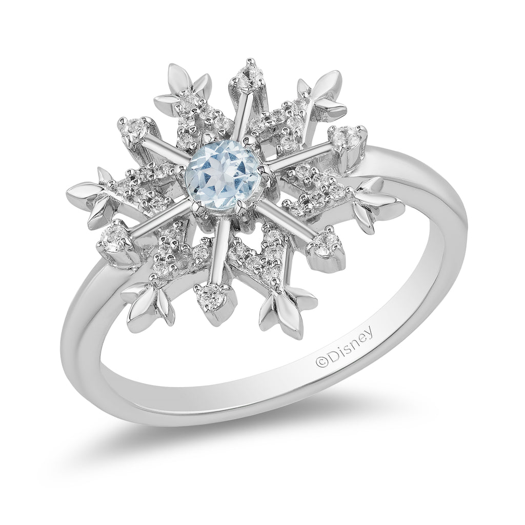 Elsa Snowflake Ring with 1/6 cttw Diamonds and Sky Blue Topaz