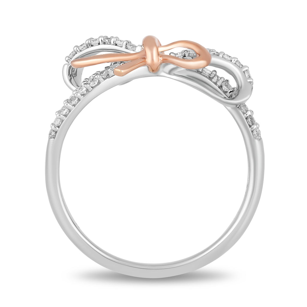 Snow White Bow Fashion Ring with 1/4 CTTW Diamonds