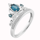 Cinderella Carriage Ring with 1/6 cttw Diamonds and London Blue Topaz*