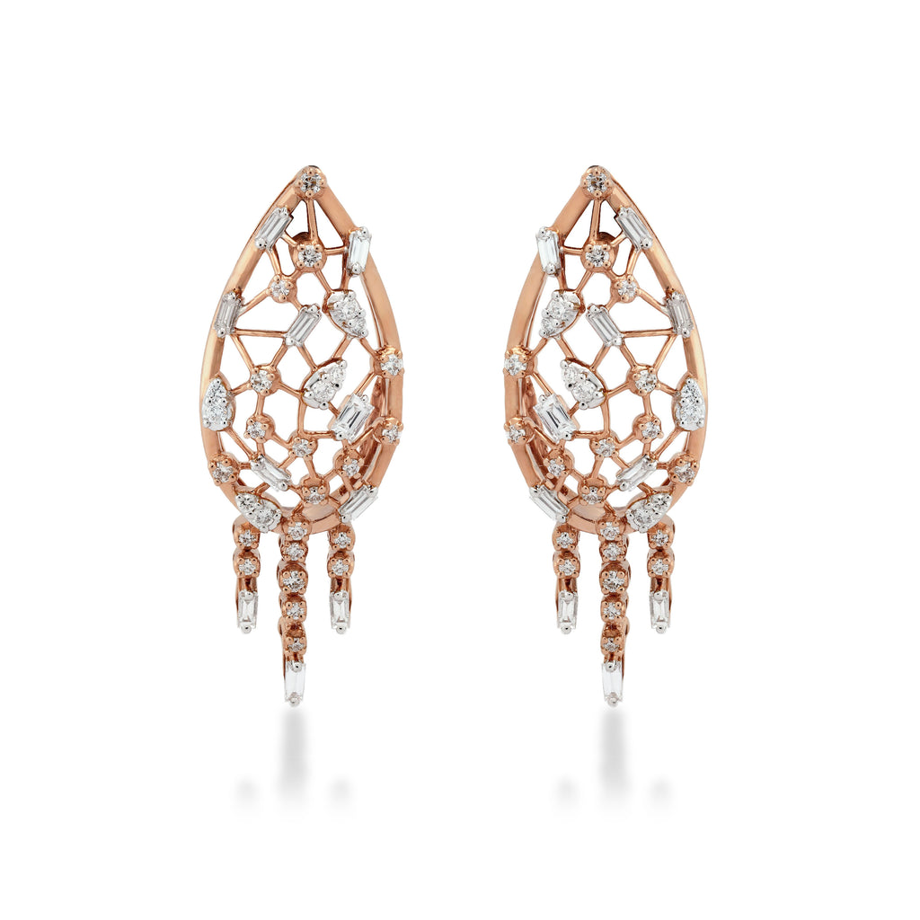 Scatter Waltz Oblique Diamond Earrings