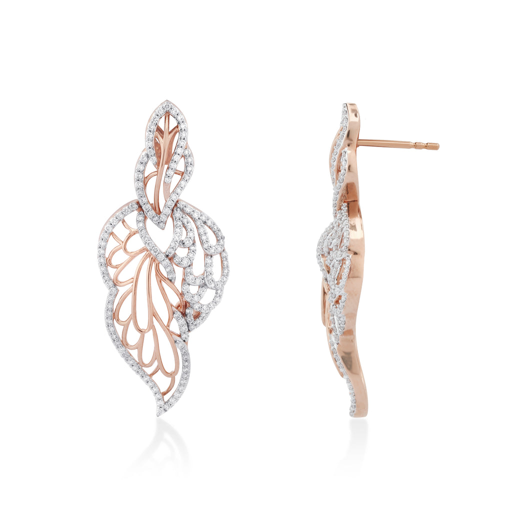 Skyward Bound Feathered Diamond Earrings