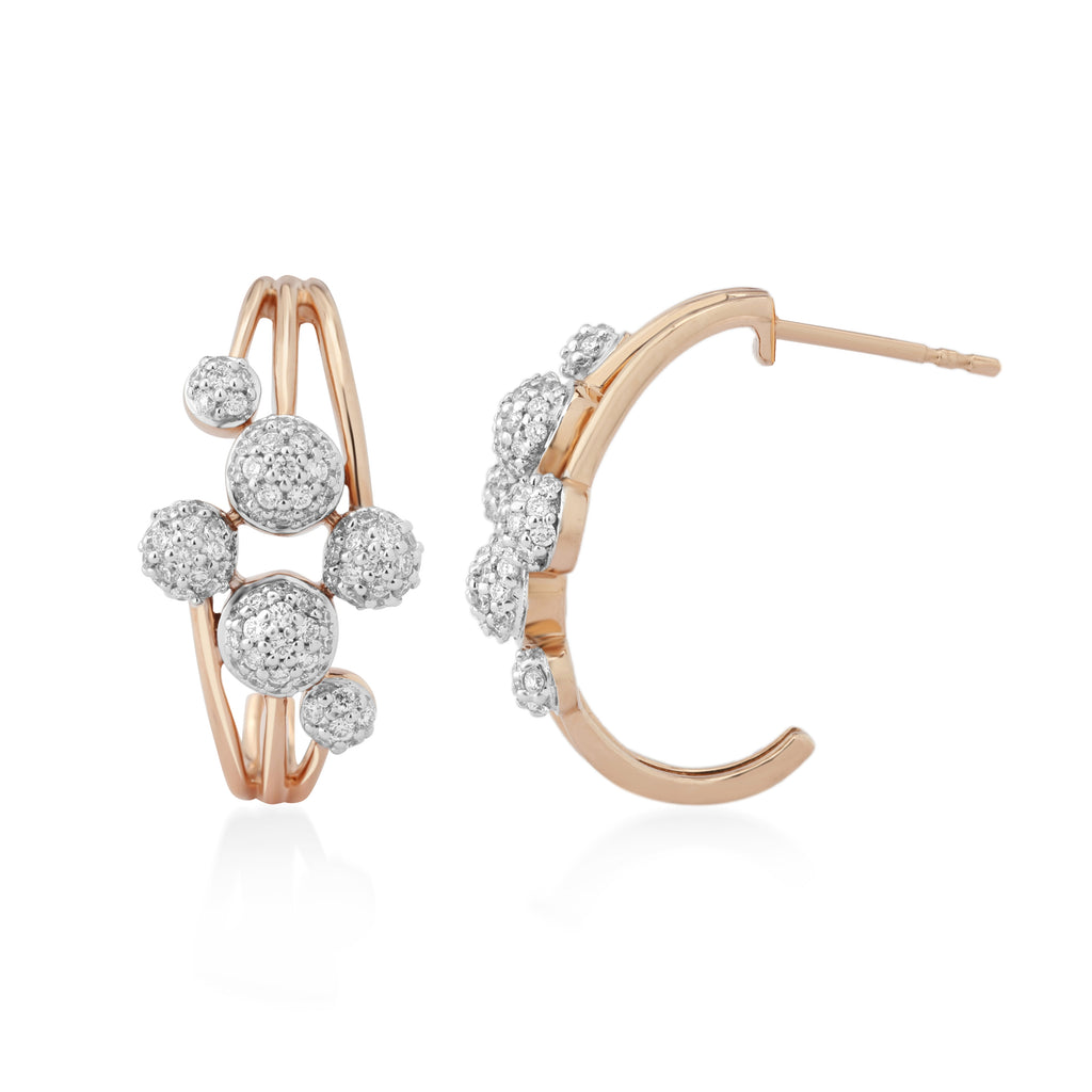 Circled Crescent Diamond Earrings