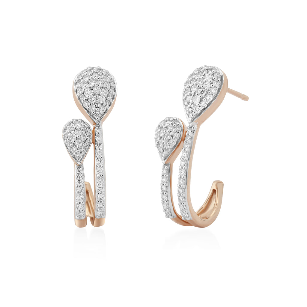 Circled Shooting Star Diamond Earrings