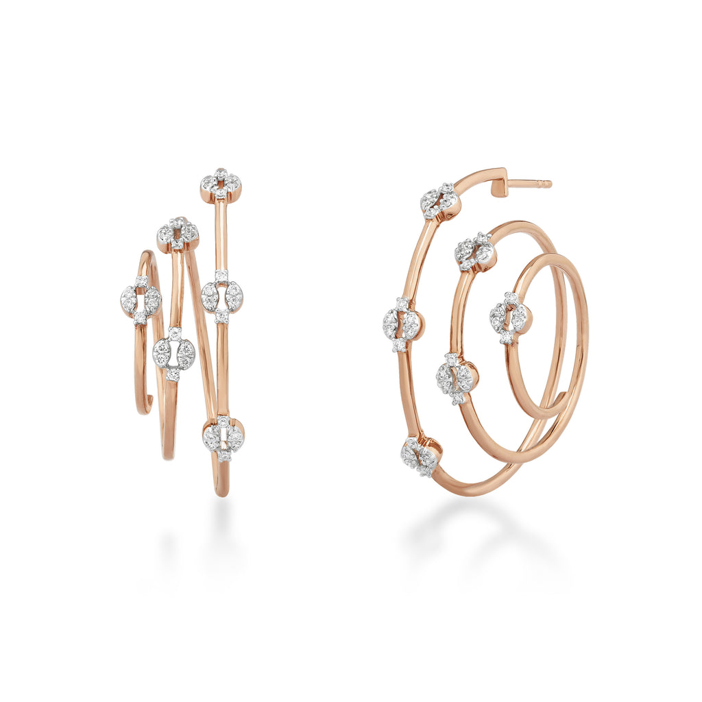 Circled Labyrinth Diamond Earrings