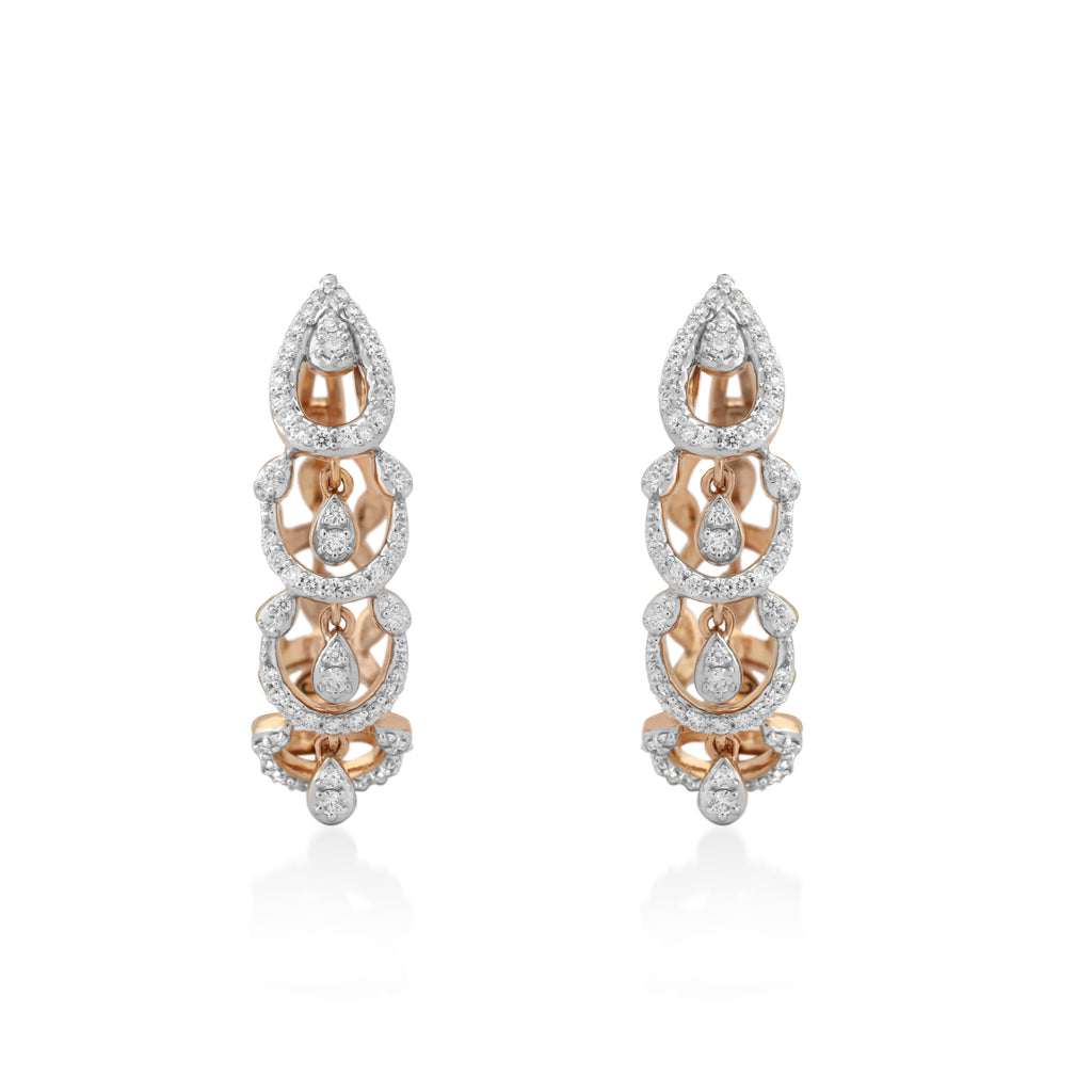 Circled Entwined Diamond Earrings