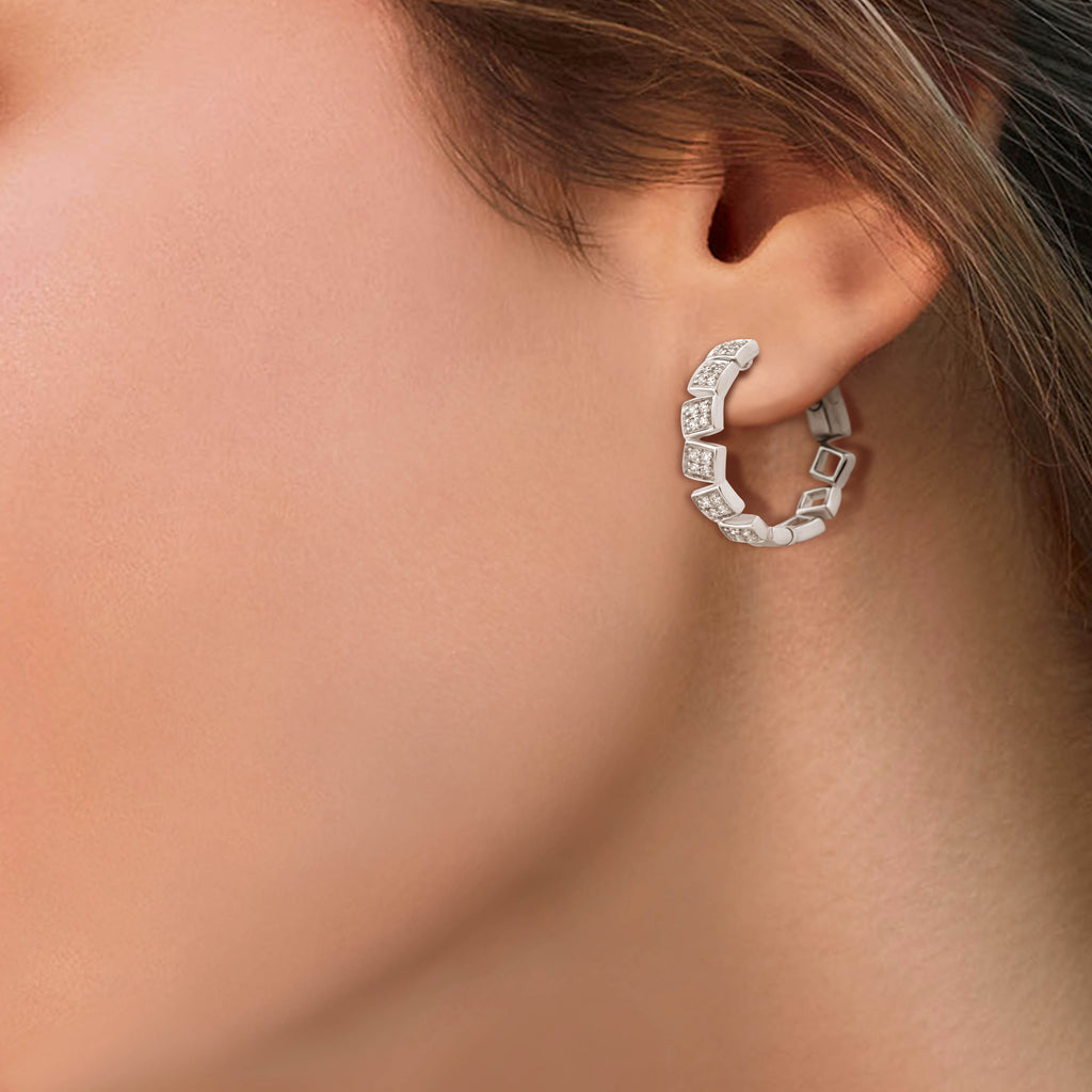 Circled Tiled Diamond Earrings