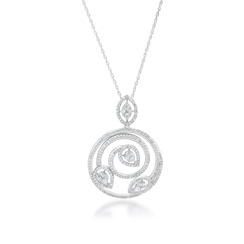One Elliptical Diamond Pendant