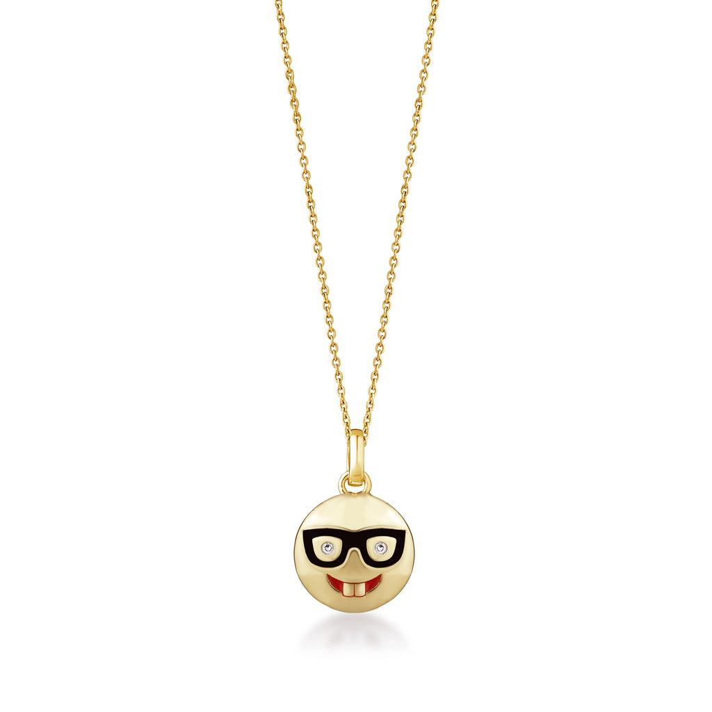 Gold Emoji Diamond Pendant