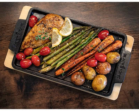 Rectangle Serving Platter with Wood Base (Cast Iron)