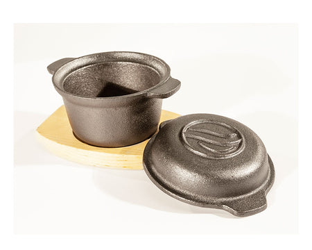 Small Sauce Pot with Wood Base (Cast Iron)