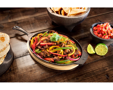 Fajita Plate with Wood Base (Cast Iron)