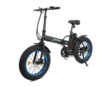 Ecotric 48V folding fat ebike with LCD display - Black and Blue