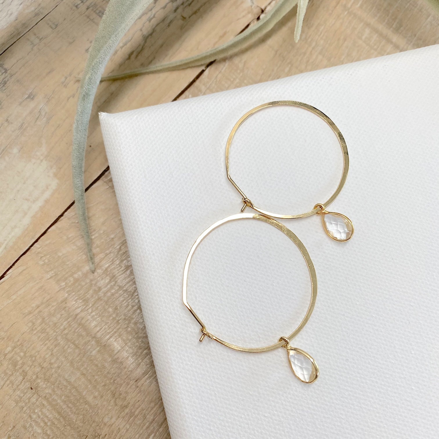 Brass & Quartz Hoops