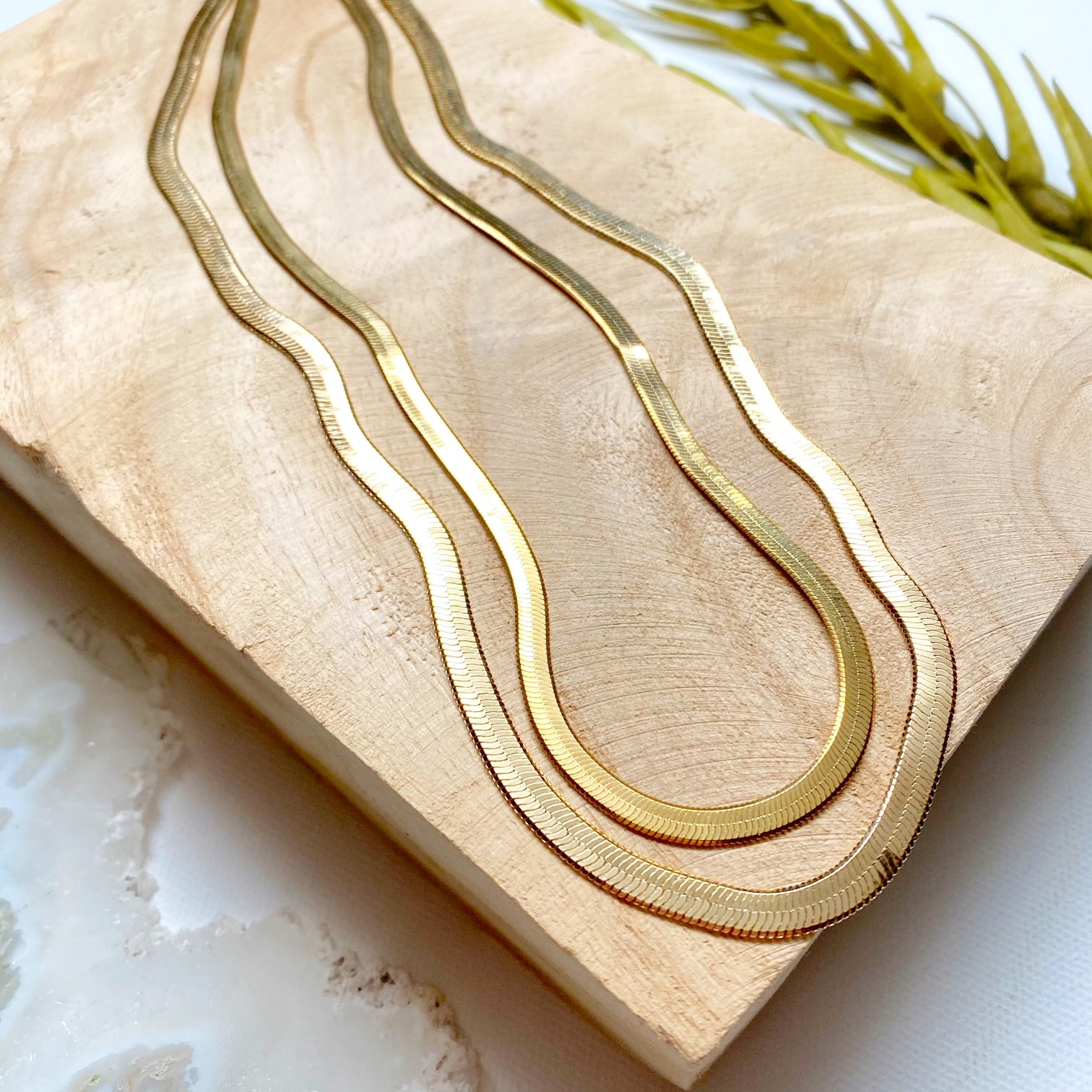 "16"" Gold Herringbone Snake Chain"
