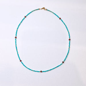 Dainty Turquoise & Garnet Necklace