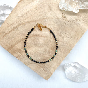 Dainty Mixed Stone Bracelet - Black & Green