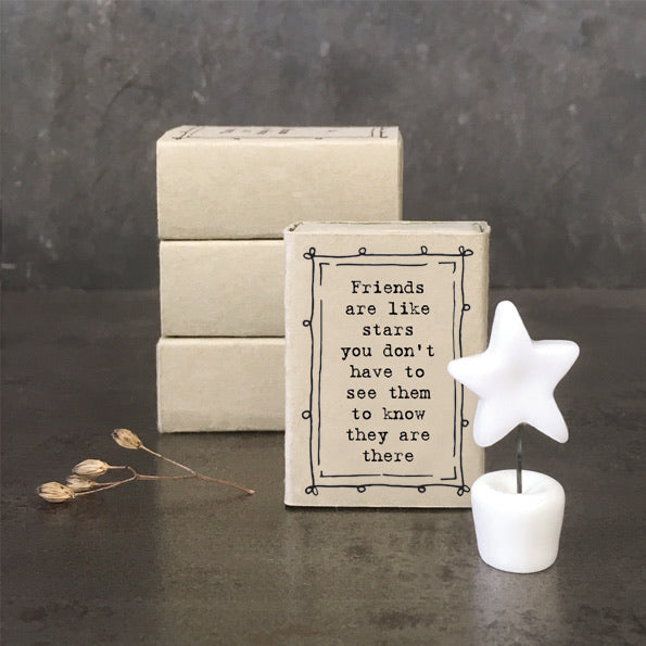 East of India - Friends are like stars  -  porcelain matchbox gift