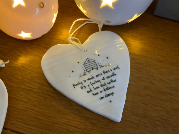 Family is much more than a word porcelain hanging heart - East of India - New for 2021