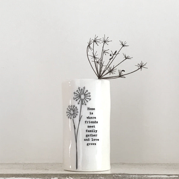 East of India handmade porcelain vase - Home is where friends meet