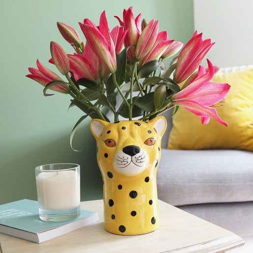 Ceramic Leopard head Vase - Lisa Angel