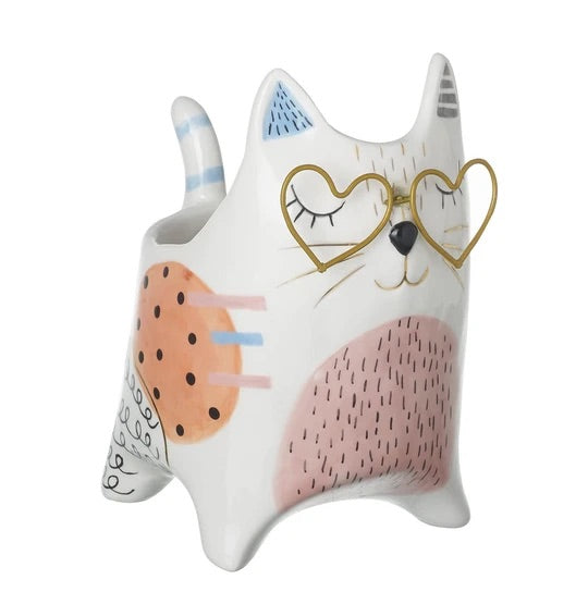 Parlane Living - Clever Cat Planter - white/pink/gold - medium