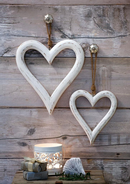 Set of 2 Large White mango wood hearts -