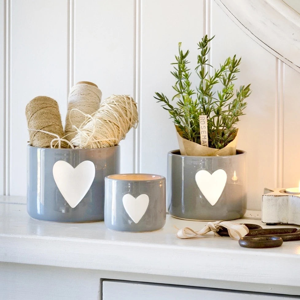 Grey with white heart ceramic pots