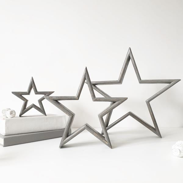 Grey wooden stars set of 3