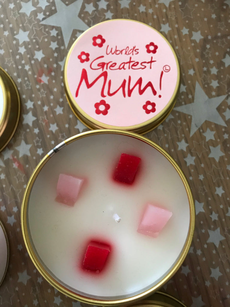 Worlds Greatest Mum Candle tin - lily flame