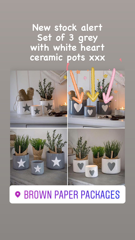 Grey and white heart ceramic pots x 3