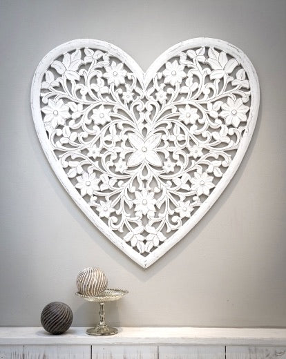 Hand carved Large Wooden White Heart Wall Panel - Retreat home