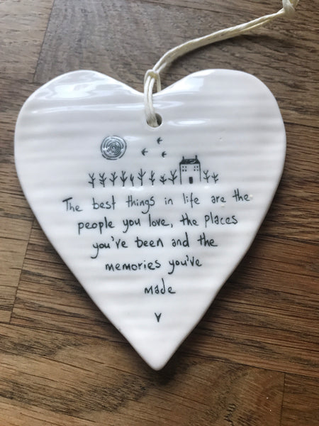 East of India porcelain hanging heart - People, Places & Memories