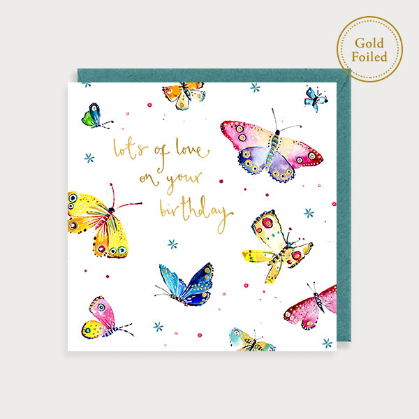 Happy Birthday Butterflies - Handpainted Card
