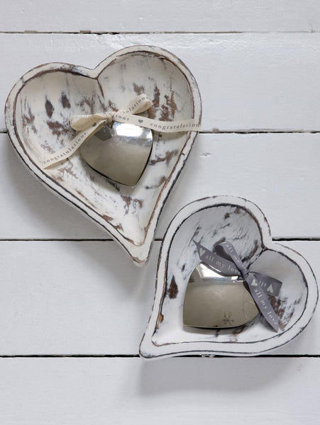 Heart shaped wooden trays x 2