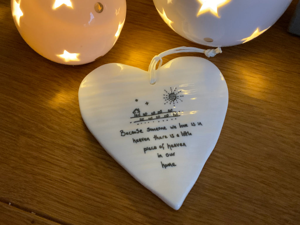 Because someone we love is in heaven porcelain hanging heart - East of India - New for 2021