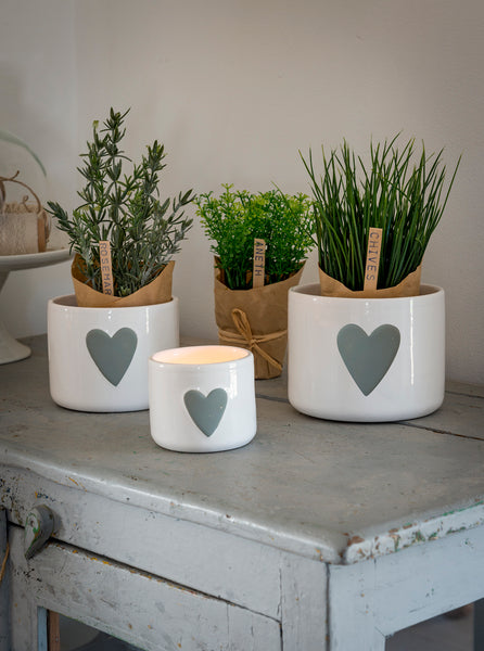 White with grey heart ceramic pots