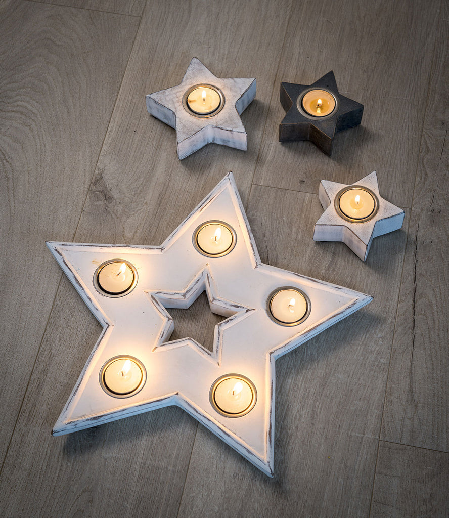 White mango wood star tea light holder