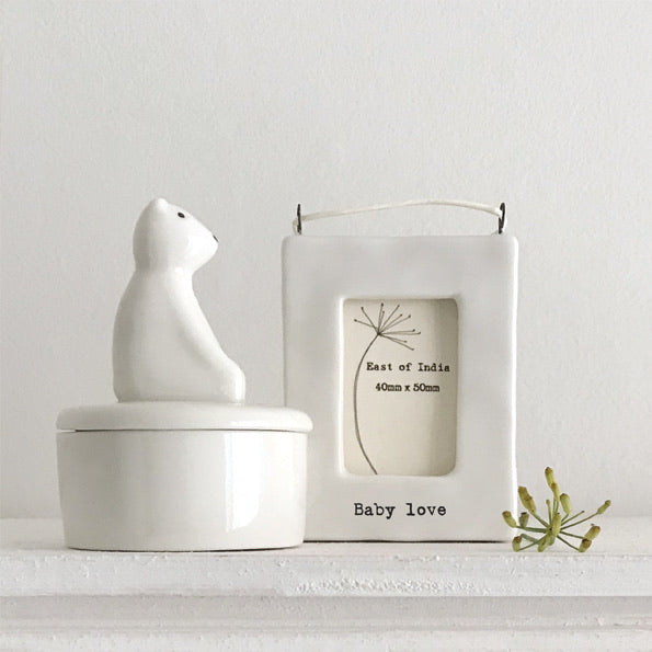 East of India - Hanging NEW BABY mini photo frame - Sentimental lockdown gift, family and friends