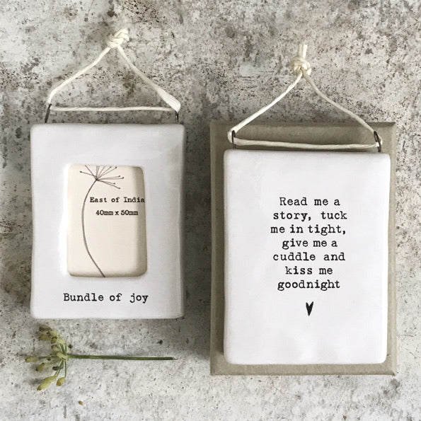 East of India - Hanging BUNDLE OF JOY  mini photo frame - Sentimental lockdown gift, family and friends