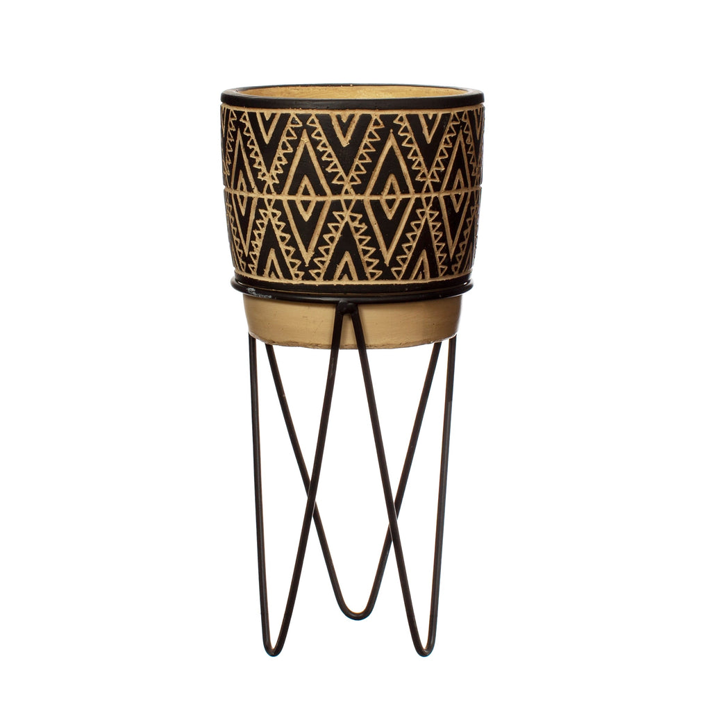 Geometric Tall Planter and stand - plant stand - Black & Cream