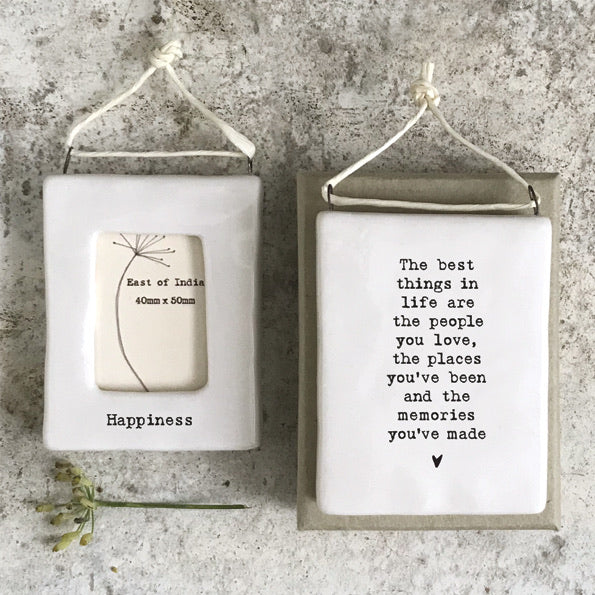 East of India - Hanging HAPPINESS mini photo frame - Sentimental lockdown gift, family and friends