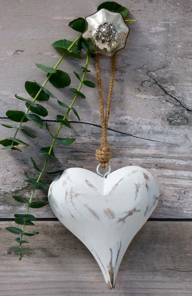 Vintage white mango / natural Wooden Heart