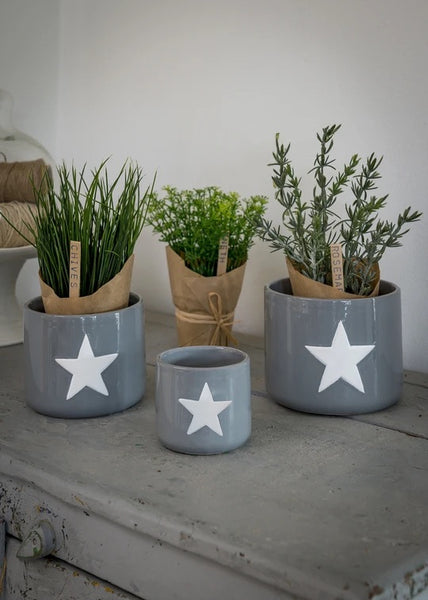 Grey and white star ceramic pots x 3