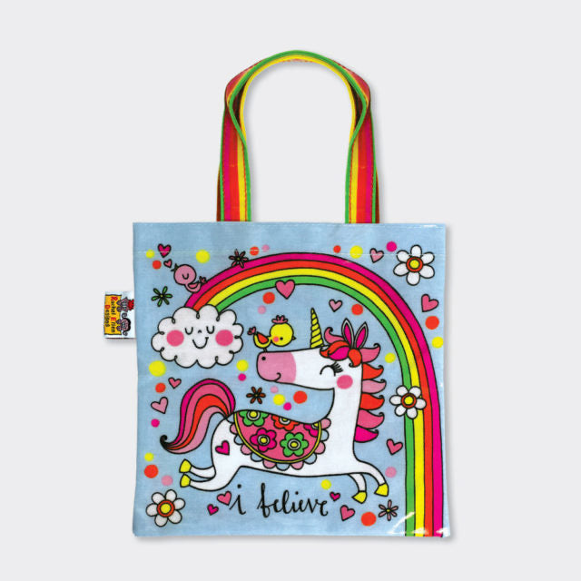 Rainbow and Unicorn mini tote bag