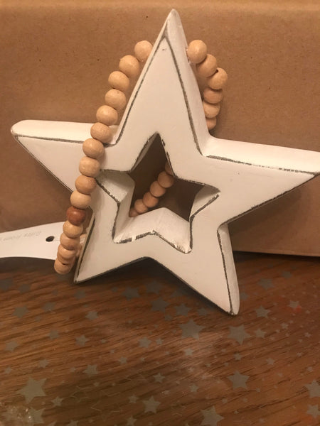 Set of 2 hanging white stars - handmade